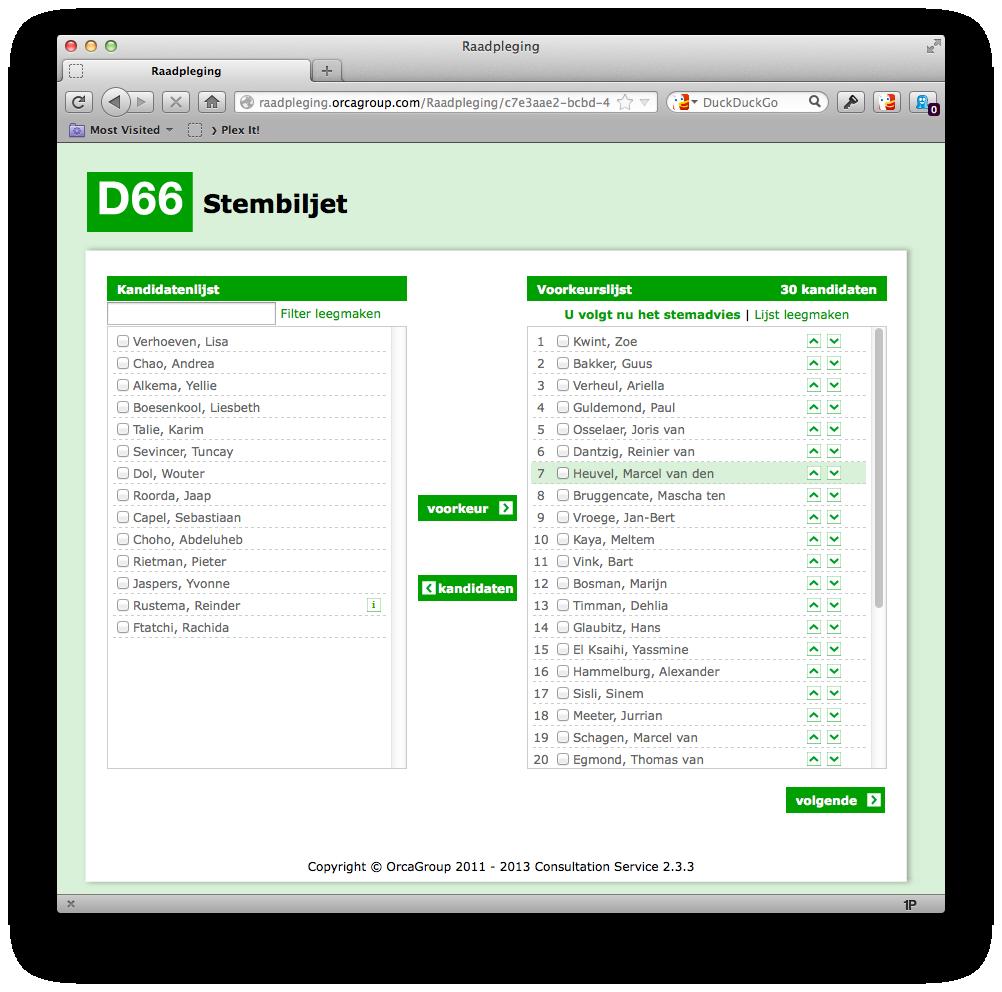 D66 stembiljet